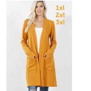 NEW Plus Women's Mustard Yellow Cardigan W/Pockets